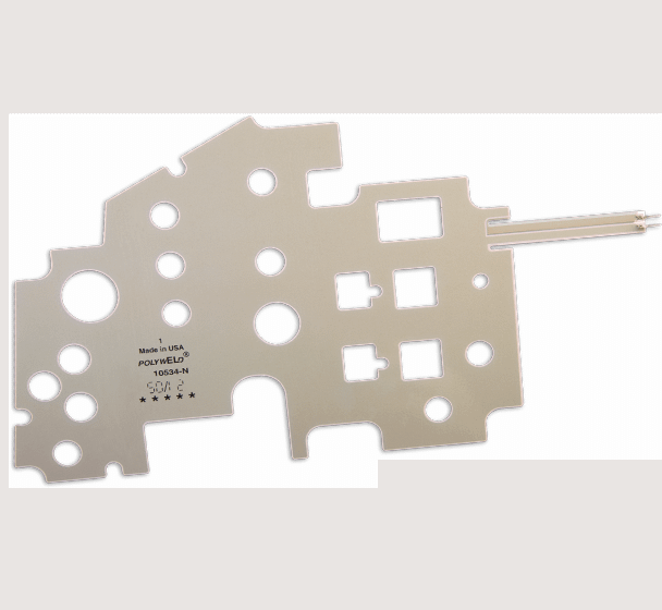 Intricate shapes membrane switch with many inside holed shapes
