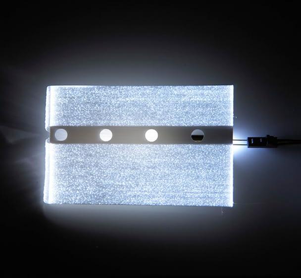 Fiber optic rectangle panel shown lit